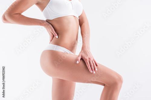 Fototapeta Youthful fit girl wearing underclothes obraz na płótnie