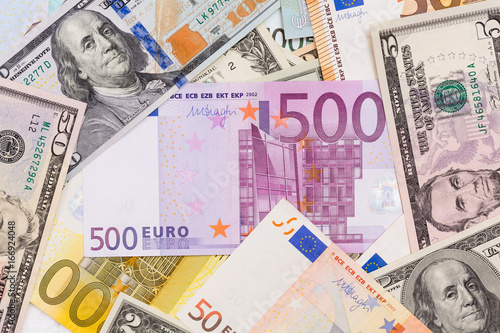 Lot Of Dollars And Euros Background Texture