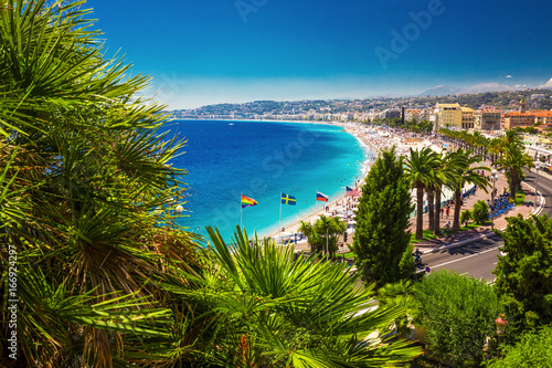 Photo sur Toile Nice Beach promenade in old city center of Nice, French riviera, France, Europe.