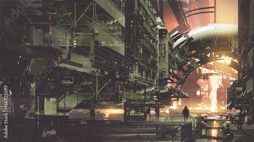 In de dag Khaki sci-fi scenery of cyberpunk city with futuristic buildings, digital art style, illustration painting