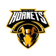 Furious Hornet Head Athletic Club Vector Logo Concept Isolated On White Background.  Modern Sport Team Mascot Badge Design. Premium Quality Wild Insect Emblem T-shirt Tee Print Illustration.
