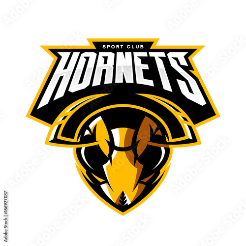 Furious hornet head athletic club vector logo concept isolated on white background Fototapet