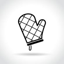 Oven Glove Icon On White Background