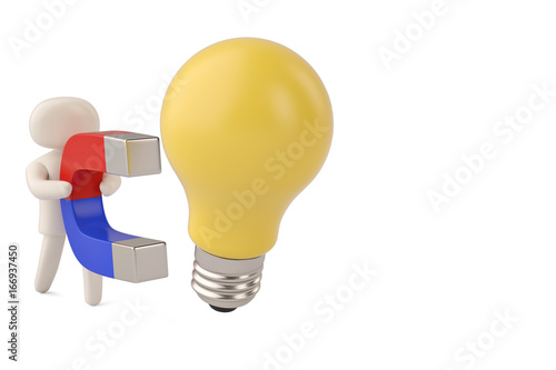 a character hold a big magnet to attract big light bulb 3d