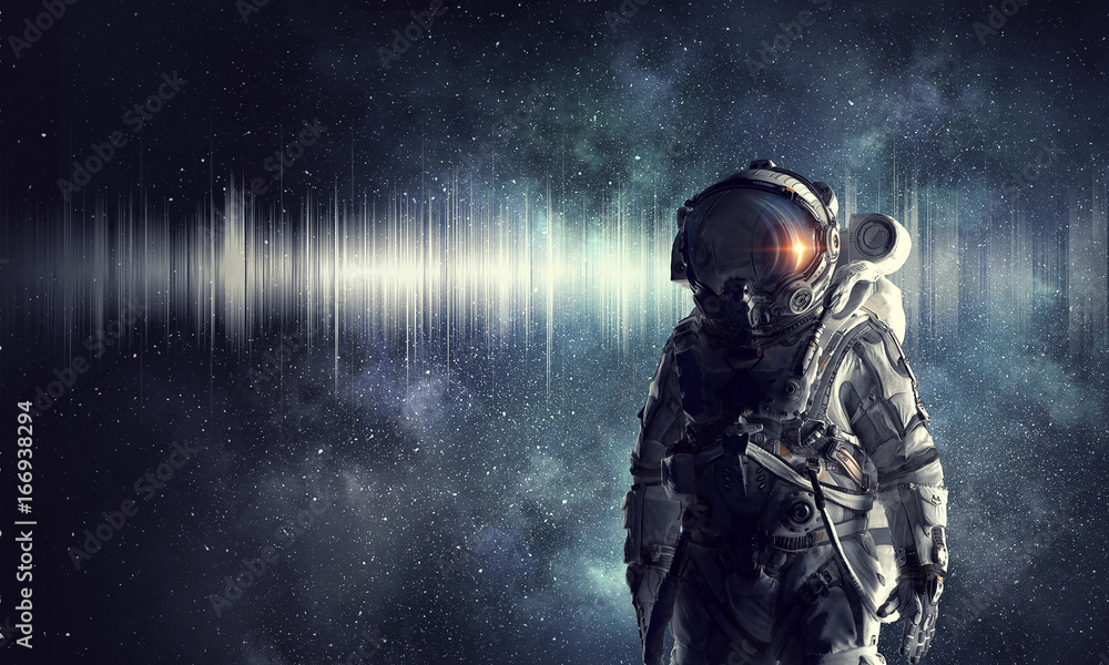 Fototapety, obrazy: Astronaut explorer in space. Mixed media
