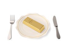 Gold Ingot With Knife And Fork...