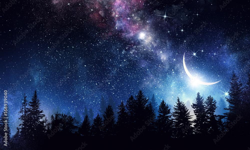 Fototapeta Stary clear night sky. Mixed media