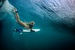 canvas print picture Blonde girl Surfer holding white surf board Diving Duckdive under Big Beautiful Ocean Wave. Turbulent tube with air bubbles and tracks after sea wave crashing.