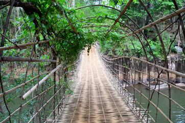 Fototapeta Bambus Suspension wooden and bamboo bridge for cross over stream river at Tad Pha Suam waterfalls