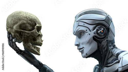 Fotografia, Obraz  Robot with Artificial Intelligence observing human skull in Evolved Cybernetic organism world