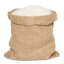 White Rice In Burlap Sack Bag ...