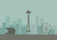 Silhouette Of Seattle Skyline