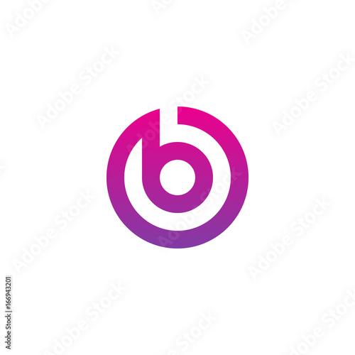 Fotografía  Initial letter ob, bo, b inside o, linked line circle shape logo, purple pink gr