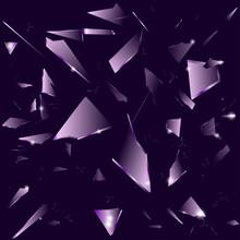 Broken Glass On The Dark Purple Background