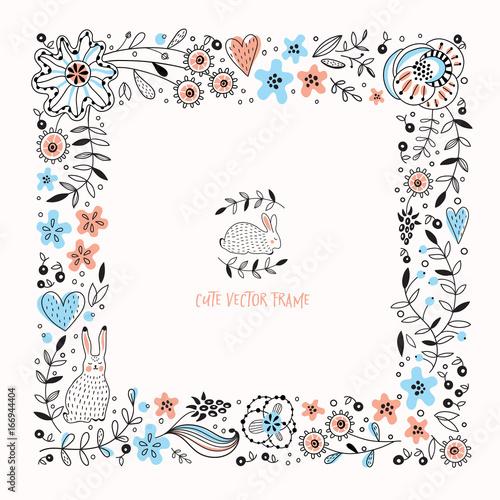 Square vector floral frame