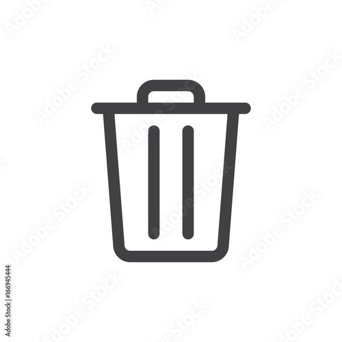 Fotomural Trash bin line simple icon, outline vector sign, linear style pictogram isolated on white
