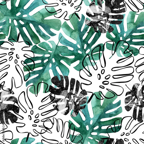 Photo sur Toile Empreintes Graphiques Monstera leaves seamless pattern.