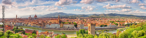 Photographie  Beautiful landscape above, panorama on historical view of the Florence from  Piazzale Michelangelo point