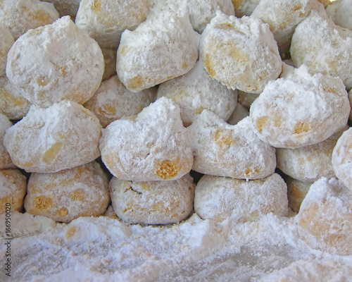 home made greek christmas cookies kourabiedes covered with icing sugar