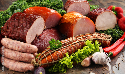 Printed kitchen splashbacks Meat Variety of meat products including ham and sausages
