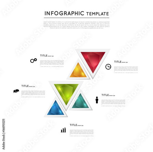 infographic colorful crystal triangles template graphic design
