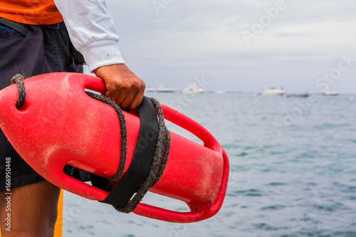 Rettungsschwimmer mit Rettungsboje, Chicago, Illinois Canvas Print