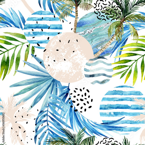 Recess Fitting Graphic Prints Abstract summer tropical palm trees and leaves background.