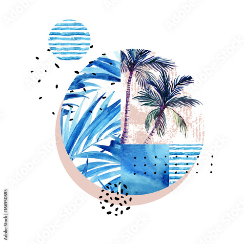 Photo sur Toile Empreintes Graphiques Watercolor tropical floral geometric shapes isolated on white background.