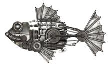 Steampunk Style Fish. Mechanic...