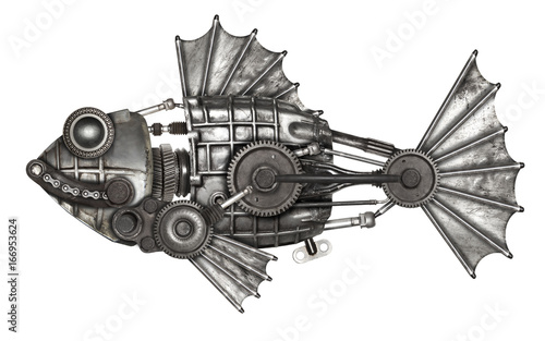 Steampunk style fish. Mechanical animal photo compilation Canvas-taulu