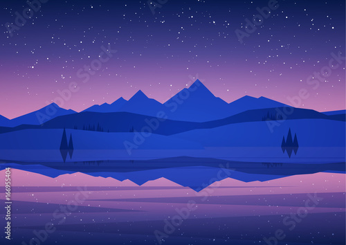 Vector illustration: Night Mountains Lake landscape with pine, stars and reflection.