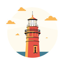 Evening Lighthouse On Coast Of Sea Or Ocean. Rounded Beautiful Stylish Vector Illustration.