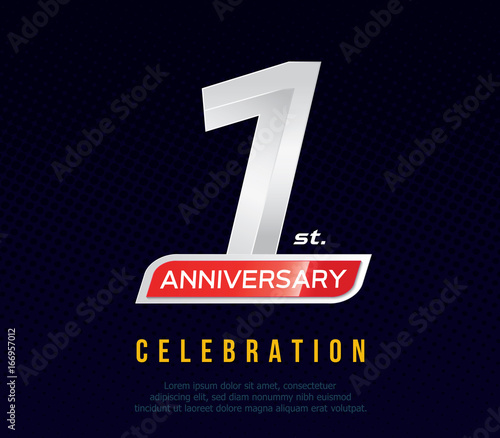 1 year anniversary invitation card celebration template design 1st anniversary logo dark blue background vector illustration buy this stock vector and explore similar vectors at adobe stock adobe stock 1 year anniversary invitation card