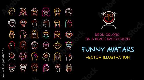 Foto auf Leinwand Abstractie Art Funny vector avatar set