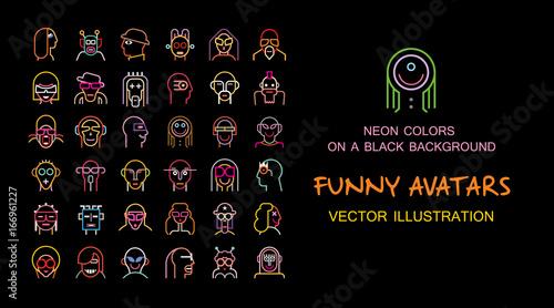 Foto auf Leinwand Abstractie Art Set of Funny vector avatars