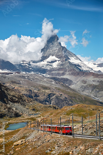 Staande foto Heuvel Gornergrat Zermatt, Switzerland. Landscape of Matterhorn mountain with railway, swiss Alps