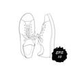 illustration of hand drawn graphic Men and women Footwear, shoes. Casual and sport style of Shoes. Doodle, drawing Design isolated object.