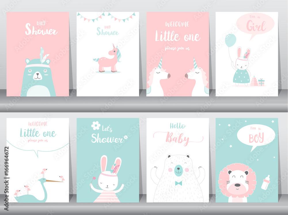 Obrazy Na Płótnie Set Of Baby Shower Invitations Cards