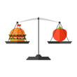 Vector. Flat design. Concept of weight loss, healthy lifestyles, diet, proper nutrition. Vegetables and fast food on scales
