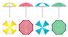 Colorful Beach Umbrellas Set. ...