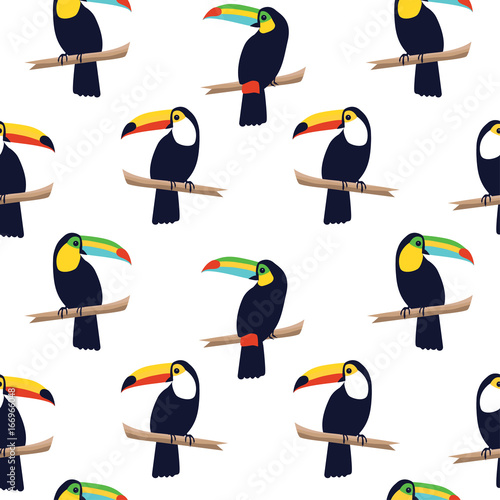 obraz dibond Seamless tropical pattern with toucans on white background. Vector illustration
