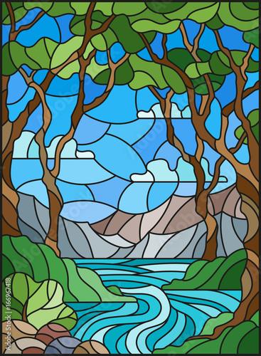 ilustracja-w-stylu-witrazu-ze-skalistym-creek-w-tle-sunny