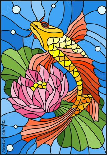 ilustracja-w-stylu-witraza-ze-zlota-rybka-i-kwiat-lotosu-przeciwko-wodzie-i