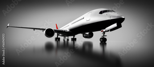 Foto  Passenger airplane in studio or hangar. Aircraft, airline