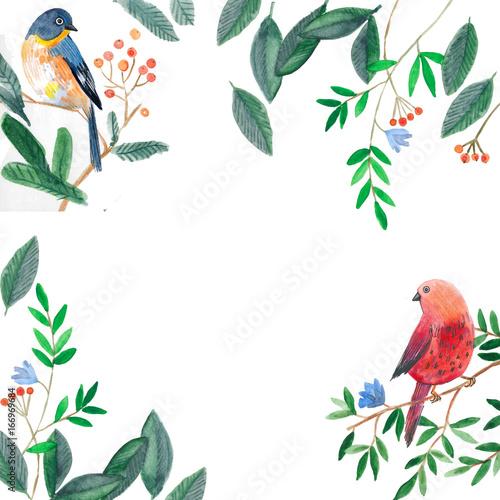 акварельная иллюстрация, птицы сидят на ветке дерева, рамка из листьев Canvas Print