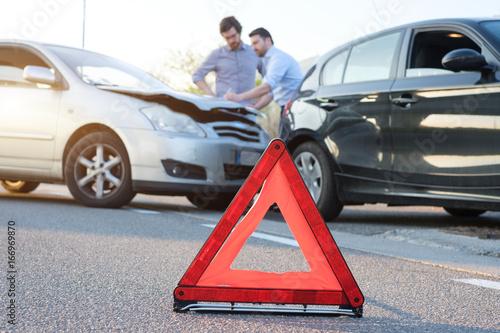 Fototapeta Two men reporting a car crash for insurance claim obraz