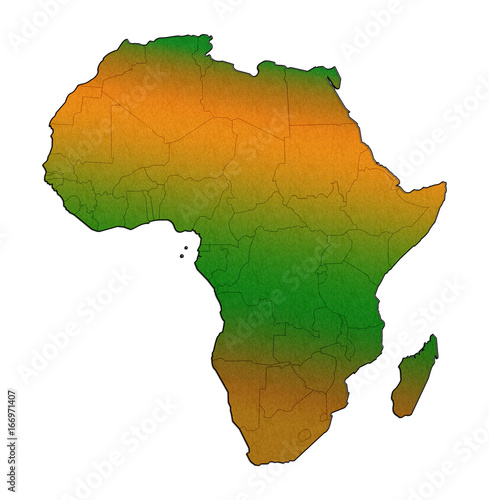 Africa Continent Outline Silhouette Map Concept Isolated On White  Background.