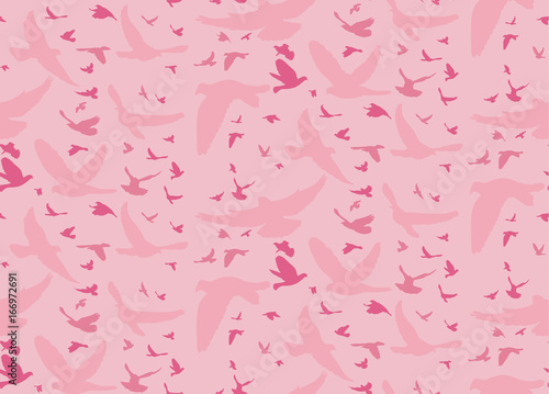 obraz dibond Vector pink silhouette of birds pattern, seamless background