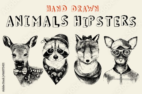 Hand drawn animals hipsters set in vintage style