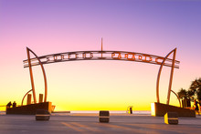 Surfers Paradise Sign At Sunrise